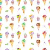 Lody i słodycze wzór na białym tle Obraz Stock