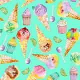 Lody i słodycze wzór na turkusowym tle Obrazy Stock