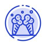 Lody, lód, śmietanka, Amerykański błękit Kropkująca linii linii ikona ilustracja wektor