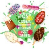 Lody Lolly deserów Ustalona Kolorowa kolekcja Wybiera Twój smak kawiarni plakat ilustracja wektor
