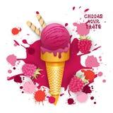 Lody malinki rożka Kolorowa Deserowa ikona Wybiera Twój smak kawiarni plakat royalty ilustracja