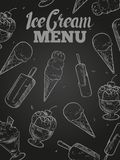 Lody menu pokrywa - blackboard lody plakat Obraz Royalty Free