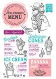 Lody menu restauracja, deserowy karmowy szablon Fotografia Stock
