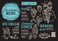 Lody menu restauracja, deserowy karmowy szablon Obraz Royalty Free