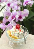 Lody mieszanki czekoladowa truskawka i banan, czereśniowa owoc Fotografia Royalty Free