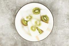 Lody od jogurtu, kokosowego mleka od kiwi/ Fotografia Royalty Free