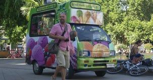 Lody samochód dostawczy w parku w gorącym letnim dniu zbiory wideo