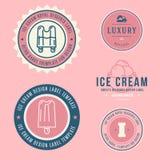 Lody sklepu etykietki, logotypy i projektów elementy, Rocznika lody różni elementy Zimni desery i lodów przedmioty V ilustracja wektor