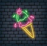 Lody Szyszkowy Neonowy znak ilustracji