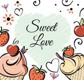 Lody z truskawką, czereśniowy sztandar Czarnego biel menchii creame czerwony ręcznie robiony rysunek dla dzieciaków, dorosły, caf ilustracja wektor