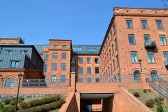 Lodz återupplivade byggnader Arkivfoto