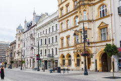 Lodz Piotrkowska gata Arkivbild
