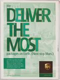 Poster advertising UPS company in magazine from 2005, We Deliver the most packages on Earth. Next stop Mars slogan stock image