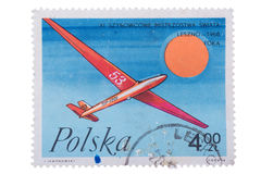 Lodz, Poland, circa 1968 a stamp printed in shows glider royalty free stock images