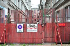 Lodz, Poland, July 2018. Closed gate in the city center with big signs no entry. stock images