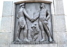 Lodz, Pologne Un bas-relief avec l'image de Tadeusz Kosciusko et de George Washington Fragment d'un monument de Kosciusko photos libres de droits