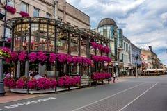 LODZ, POLONIA - GIUGNO 2012: Via di Piotrkowska Fotografia Stock Libera da Diritti