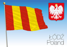 Lodz regional flag, Poland Stock Images