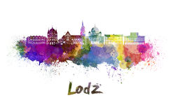 Lodz skyline in watercolor Royalty Free Stock Images
