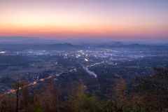 Loei city was evening on Phu Boa Bid viewpoint. Royalty Free Stock Image