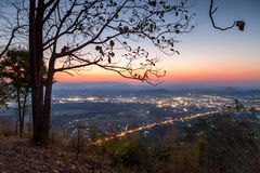 Loei city was evening on Phu Boa Bid viewpoint. Royalty Free Stock Images