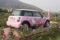 LOEI,March 2: Mini Cooper, Hello kitty edition, on display at Th Stock Photos