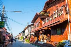 Loei Tajlandia, Listopad, - 26, 2016: Starzy drewniani domy w wal Obrazy Royalty Free