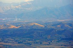 Loess de Plateauherfst, Shanxi, China stock foto's