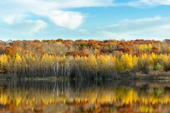 Loew Lake Reflection in Full Fall Color stock photo