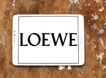 LOEWE fashion brand logo. Logo of LOEWE fashion brand on samsung tablet. LOEWE is a Spanish luxury fashion house based in Madrid and owned by the LVMH Group stock image