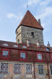 Loewenschede Tower and medieval tiled roof house Royalty Free Stock Photos