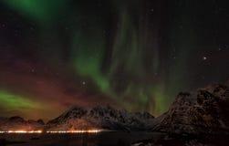 Lofoten海岛北极光-极光Borealis挪威 免版税库存照片