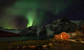 Lofoten海岛北极光-极光Borealis挪威 库存照片