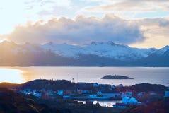 Lofoten海岛Skrova顶视图  免版税库存图片