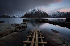 Lofoten海湾,挪威 免版税图库摄影