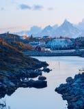 Lofoten的挪威村庄 免版税库存图片