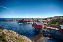Lofoten,挪威- 04/06/2017 :Ã村庄… 免版税库存图片