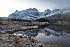 Lofoten öar - berg reflekterade i en sjö royaltyfri foto