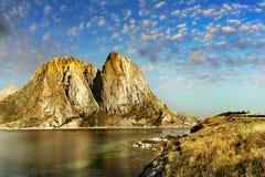 Lofoten, νορβηγικό τοπίο ακτών Στοκ φωτογραφία με δικαίωμα ελεύθερης χρήσης