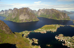Lofoten. View to village Reine, fjords and mountains of the Lofoten, Norway Royalty Free Stock Photography