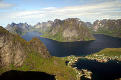 Lofoten. View to village Reine, fjords and mountains of the Lofoten, Norway Royalty Free Stock Images