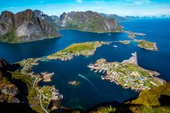 Lofoten is an archipelago in the county of Nordland, Norway. stock photos