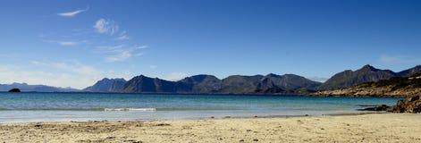 Lofoten beach panoramic. In summer stock photo