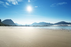 Lofoten beach in sunny summer day, Norway Stock Image