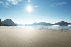 Lofoten beach in sunny summer day, Norway Stock Photos