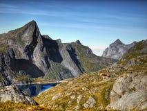 Lofoten berg, Nordland, Norge Arkivfoton