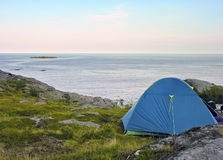 Lofoten camping site. Tent in a lofoten camping site on the sea stock image