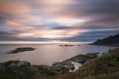 Lofoten coastline at sunset Stock Images