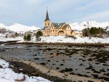 Lofoten domkyrka i vinter, Norge Arkivfoto