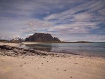 Lofoten door de zomer in Noorwegen stock foto